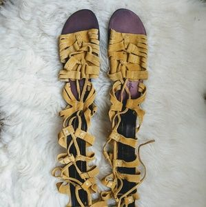 Leather lace up gladiator sandal shoes